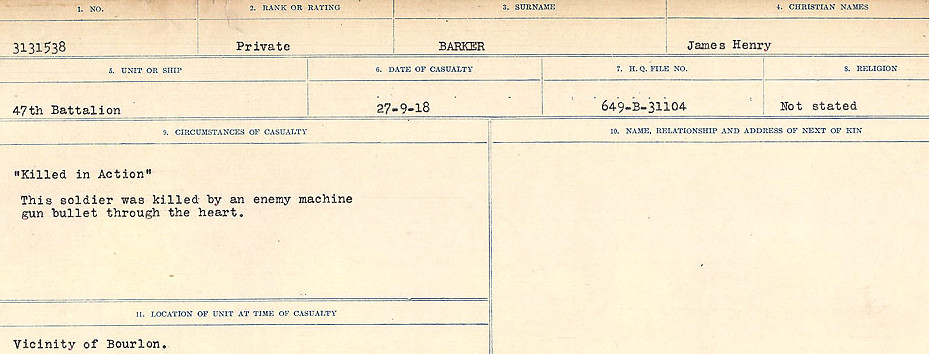 Circumstances of Death Registers– Source: Library and Archives Canada.  CIRCUMSTANCES OF DEATH REGISTERS, FIRST WORLD WAR Surnames:  Bark to Bazinet. Mircoform Sequence 6; Volume Number 31829_B016716. Reference RG150, 1992-93/314, 150.  Page 33 of 1058.