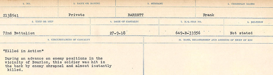 Circumstances of Death– Source: Library and Archives Canada.  CIRCUMSTANCES OF DEATH REGISTERS, FIRST WORLD WAR Surnames:  Bark to Bazinet. Mircoform Sequence 6; Volume Number 31829_B016716. Reference RG150, 1992-93/314, 150.  Page 425 of 1058.