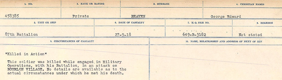 Circumstances of Death Registers– Source: Library and Archives Canada.  CIRCUMSTANCES OF DEATH REGISTERS FIRST WORLD WAR Surnames:  Bea to Belisle. Mircoform Sequence 7; Volume Number 31829_B016717. Reference RG150, 1992-93/314, 151.  Page 357 of 724.