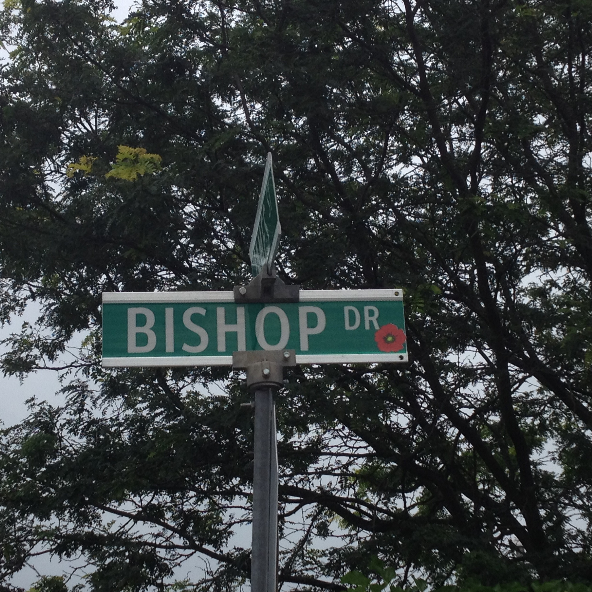 Street sign– Barrie street named in honour of Private George Green Bishop with a poppy.