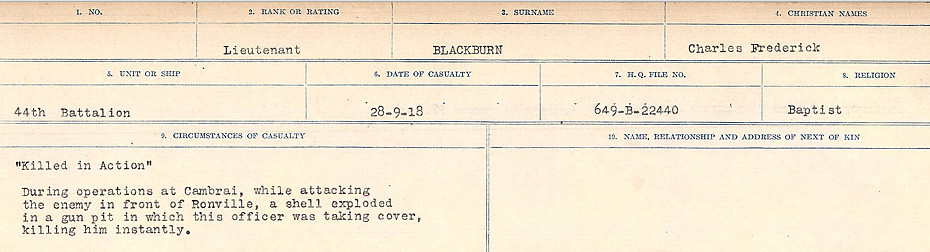 Circumstances of Death Registers– Source: Library and Archives Canada.  CIRCUMSTANCES OF DEATH REGISTERS FIRST WORLD WAR Surnames: Birch to Blakstad. Mircoform Sequence 10; Volume Number 31829_B034746; Reference RG150, 1992-93/314, 154 Page 441 of 734