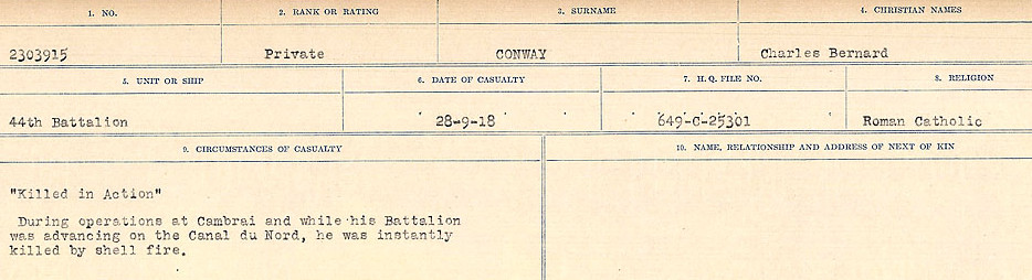 Circumstances of Death– Source: Library and Archives Canada.  CIRCUMSTANCES OF DEATH REGISTERS, FIRST WORLD WAR Surnames:  CONNON TO CORBETT.  Microform Sequence 22; Volume Number 31829_B016731. Reference RG150, 1992-93/314, 166.  Page 129 of 818
