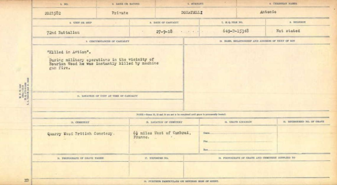 Circumstances of Death Registers– Here is a copy of my cousin's death certificate from WW1.