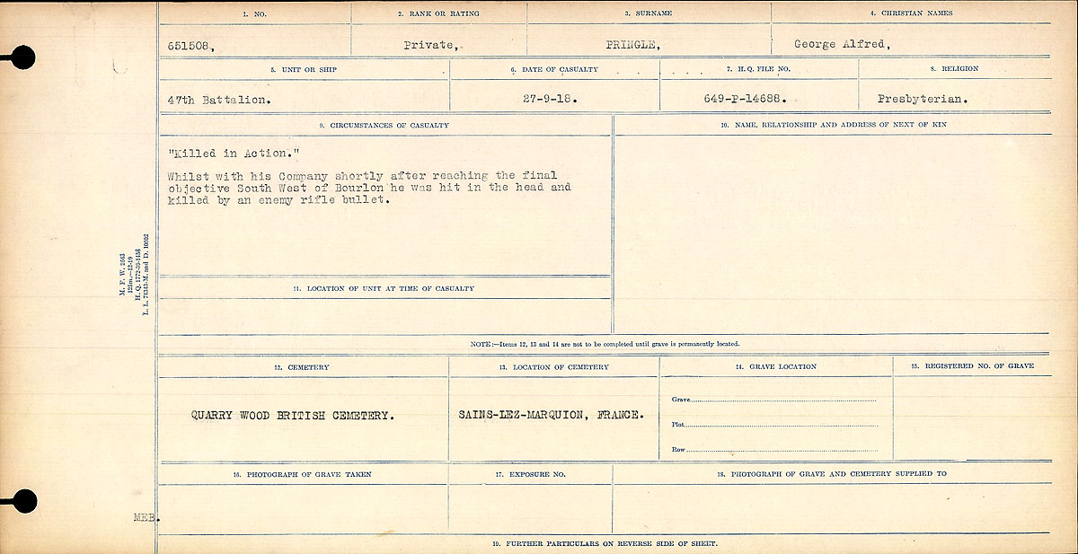 Attestation Papers– Circumstances of Death-George Alfred Pringle
