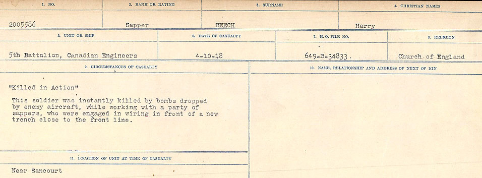 Circumstances of Death Registers– Source: Library and Archives Canada.  CIRCUMSTANCES OF DEATH REGISTERS FIRST WORLD WAR Surnames:  Bea to Belisle. Mircoform Sequence 7; Volume Number 31829_B016717. Reference RG150, 1992-93/314, 151.  Page 527 of 724.