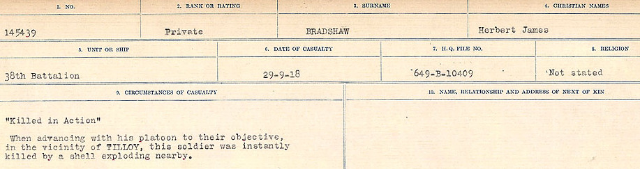 Circumstances of Death Registers– Source: Library and Archives Canada.  CIRCUMSTANCES OF DEATH REGISTERS FIRST WORLD WAR Surnames: Brabant to Britton. Mircoform Sequence 13; Volume Number 131829_B016722; Reference RG150, 1992-93/314, 156 Page 167 of 906.