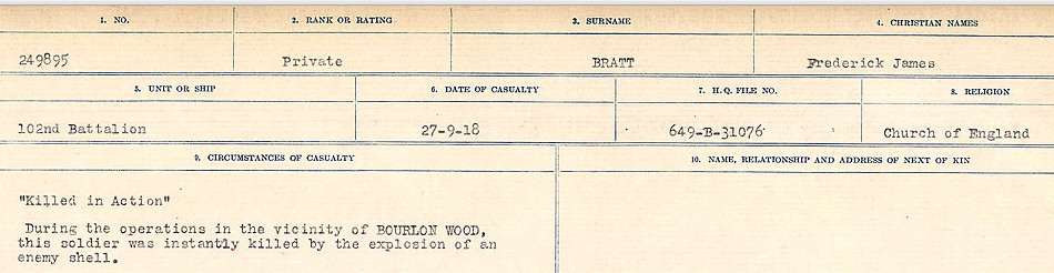 Circumstances of Death Registers– Source: Library and Archives Canada.  CIRCUMSTANCES OF DEATH REGISTERS FIRST WORLD WAR Surnames: Brabant to Britton. Mircoform Sequence 13; Volume Number 131829_B016722; Reference RG150, 1992-93/314, 157 Page 317 of 906