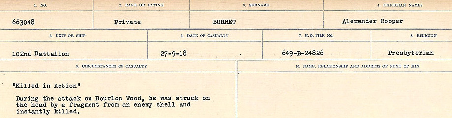 Circumstances of Death Registers– Source: Library and Archives Canada.  CIRCUMSTANCES OF DEATH REGISTERS, FIRST WORLD WAR Surnames:  Burbank to Bytheway. Microform Sequence 16; Volume Number 31829_B016725. Reference RG150, 1992-93/314, 160.  Page 263 of 926.