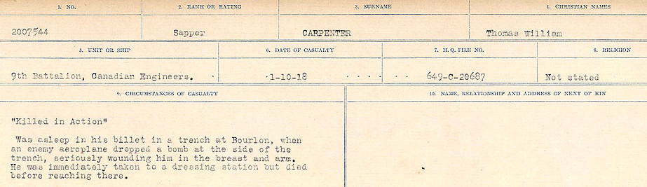 Circumstances of Death Registers– Source: Library and Archives Canada.  CIRCUMSTANCES OF DEATH REGISTERS, FIRST WORLD WAR Surnames:  Canavan to Caswell. Microform Sequence 18; Volume Number 31829_B016727. Reference RG150, 1992-93/314, 162.  Page 397 of 1004.