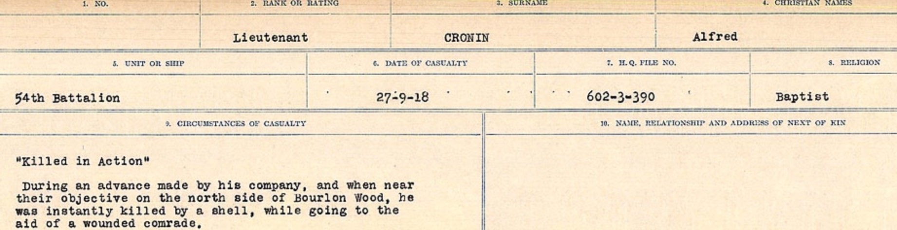 Circumstances of death registers– Source: Library and Archives Canada. CIRCUMSTANCES OF DEATH REGISTERS, FIRST WORLD WAR Surnames: CRABB TO CROSSLAND Microform Sequence 24; Volume Number 31829_B016733. Reference RG150, 1992-93/314, 168. Page 657 of 788.