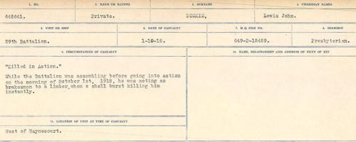 Circumstances of death registers– Source: Library and Archives Canada. CIRCUMSTANCES OF DEATH REGISTERS, FIRST WORLD WAR. Surnames: Deuel to Domoney. Microform Sequence 28; Volume Number 31829_B016737. Reference RG150, 1992-93/314, 172. Page 309 of 1084.