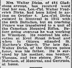 Newspaper Clipping– 1 of  2 articles from the Ottawa Times when he died.  This one is from 1917