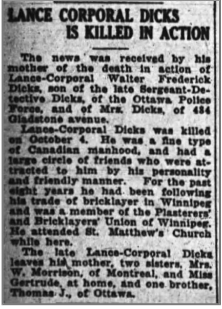 Newspaper Clipping– Another article from the Ottawa Times  -- 17 Oct 1918