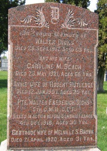 Family gravemarker– Walters' name is listed on the Family Headstone in Beechwood Cemetery, Ottawa.