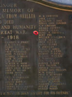 Cenotaph– Private Henry Fountain is also commemorated on the WWI cenotaph in Orillia, ON … photo courtesy of Marg Liessens