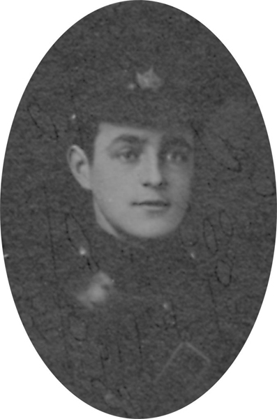 Photo of ABRAM LAWSON GIBSON– From a collage photo layout of members of A Company and the bugle band of the 157th Canadian Infantry Battalion.