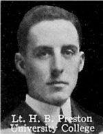 Photo of Harold Preston– From: The Varsity Magazine Supplement published by The Students Administrative Council, University of Toronto 1916.  