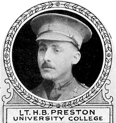 Photo of Harold Preston– From: The Varsity Magazine Supplement Fourth Edition 1918