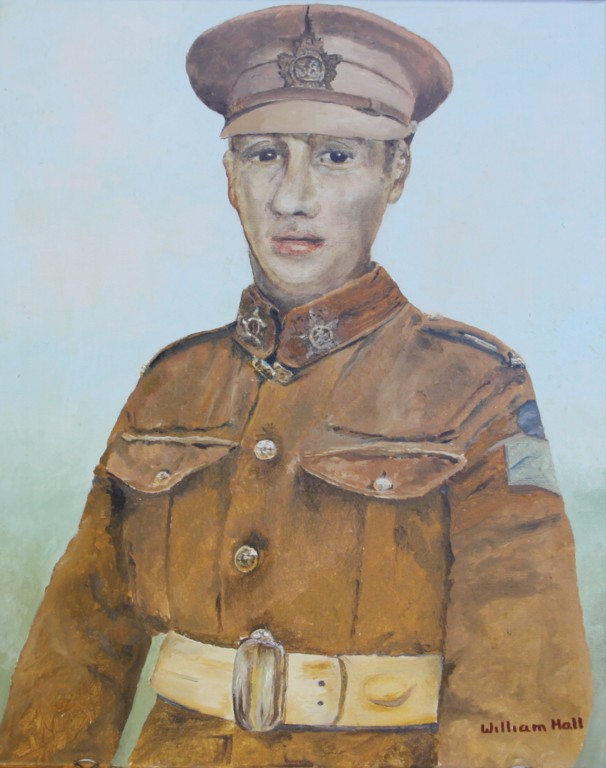 Painting– Pte. Albert G. Gates - (Oil on Canvas by William Hall Commissioned by grandson Ron Gates August 2015)