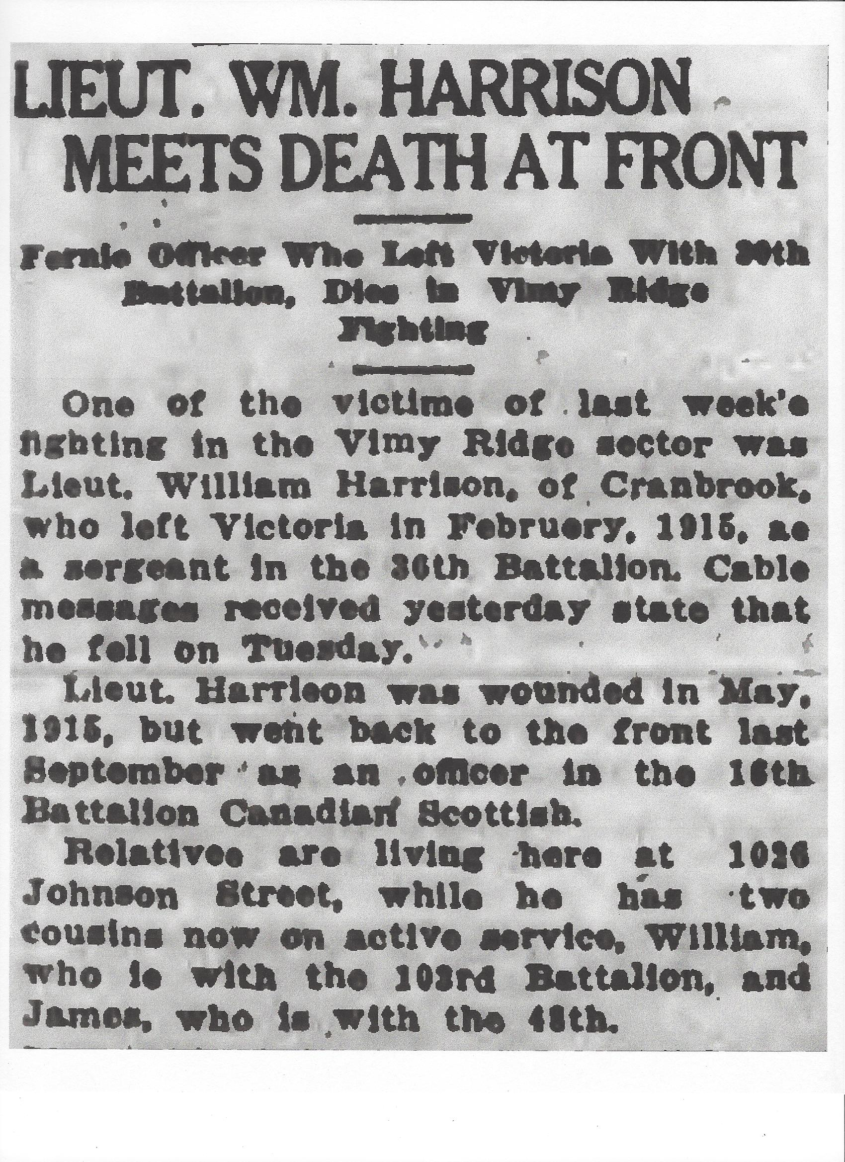 Newspaper clipping– From the Daily Colonist of April 21, 1917. Image taken from web address of http://archive.org/stream/dailycolonist59y114uvic#page/n0/mode/1up