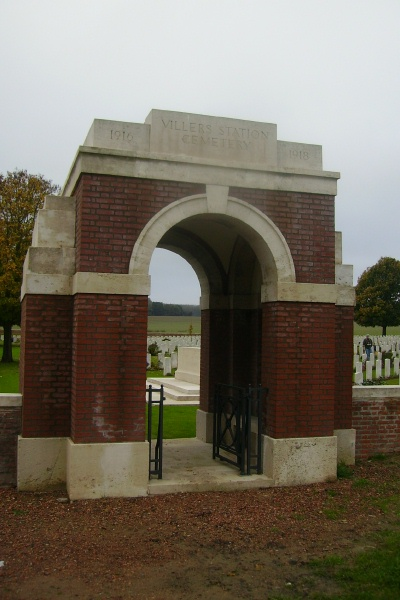 Cemetery– Entrance - Villers Station Cemetery … photo courtesy of Marg Liessens