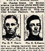 Coupre de presse – Le frère du soldat Gordon Finamore Keene était Clarence Edmund Keene, né à Toronto, Ontario. Clarence Keen travaillait comme charpentier et s'est enrôlé dans le 38e Bataillon du Corps expéditionnaire canadien le 15 mars 1915 au camp Barriefield.