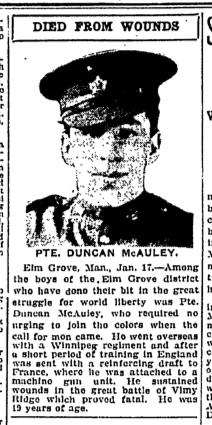 Newspaper clipping– Manitoba Free Press, Winnipeg, Thursday, January 17, 1918 (page 4)