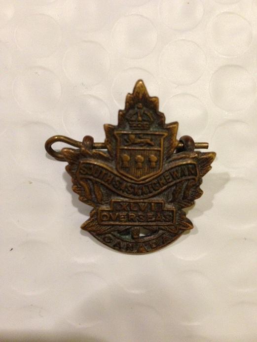 Cap Badge– Cap badge of the 46th Canadian Infantry Battalion (South Saskatchewan).