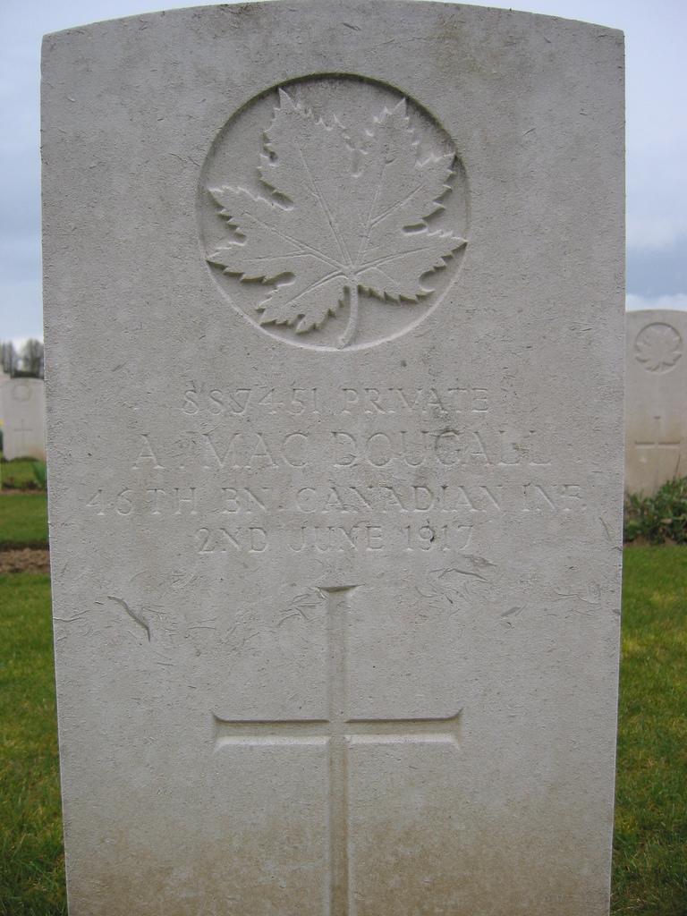 Grave marker– shows the grave marking of Angus MacDougall