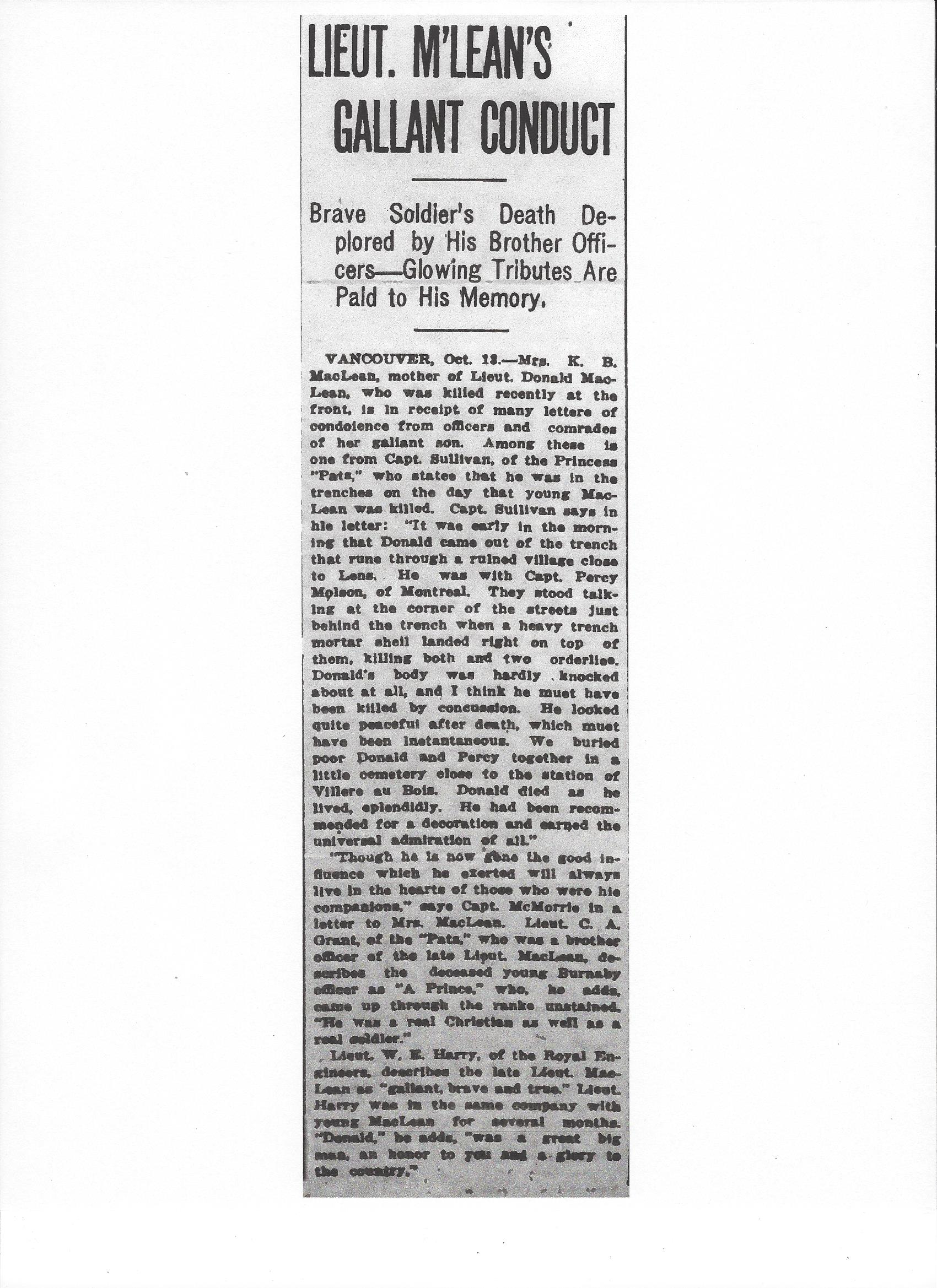 Newspaper Clipping– Newspaper clipping from the Daily Colonist of October 14, 1917. Image taken from web address of http://archive.org/stream/dailycolonist59y265uvic#page/n0/mode/1up