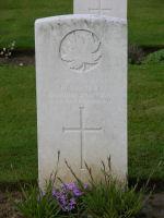 Grave Marker– Villers Station Cemetery, Viller-Au-Bois, Pas de Calais, France (photo for approved release Maple Leaf Legacy Project)