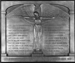 Plaque– Capt Percival Molson MC memorial plaque