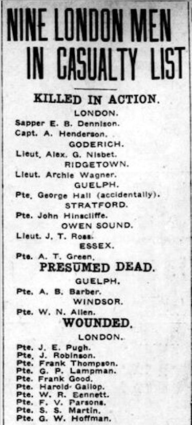 Newspaper clipping– From the London Free Press April 1917. Submitted for the project Operation Picture Me