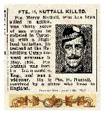 Newspaper Clipping– Pte. Harry Nuttall indicated on his military attestation that he was a widower and sole support of two children.