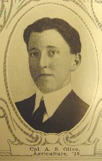 Photo of Alfred Olive– University of Manitoba Roll of Honour 1914-1918.  Winnipeg, 1923. Roll of the Fallen (pg. 23) - OLIVE, Alfred Sidney:  Agric. '18; Enlisted 24-2-16; Pte. 196th Battn.; Transferred to 46th Battn.; Service in France; Feb. 1917 to 20-8-17; Killed in Action 20-8-17.
