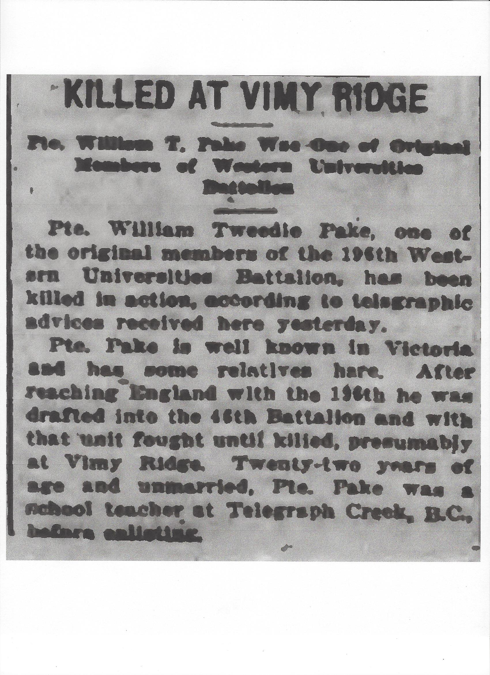 Newspaper clipping– From the Daily Colonist of April 17, 1917. Image taken from web address of http://archive.org/stream/dailycolonist59y110uvic#page/n0/mode/1up