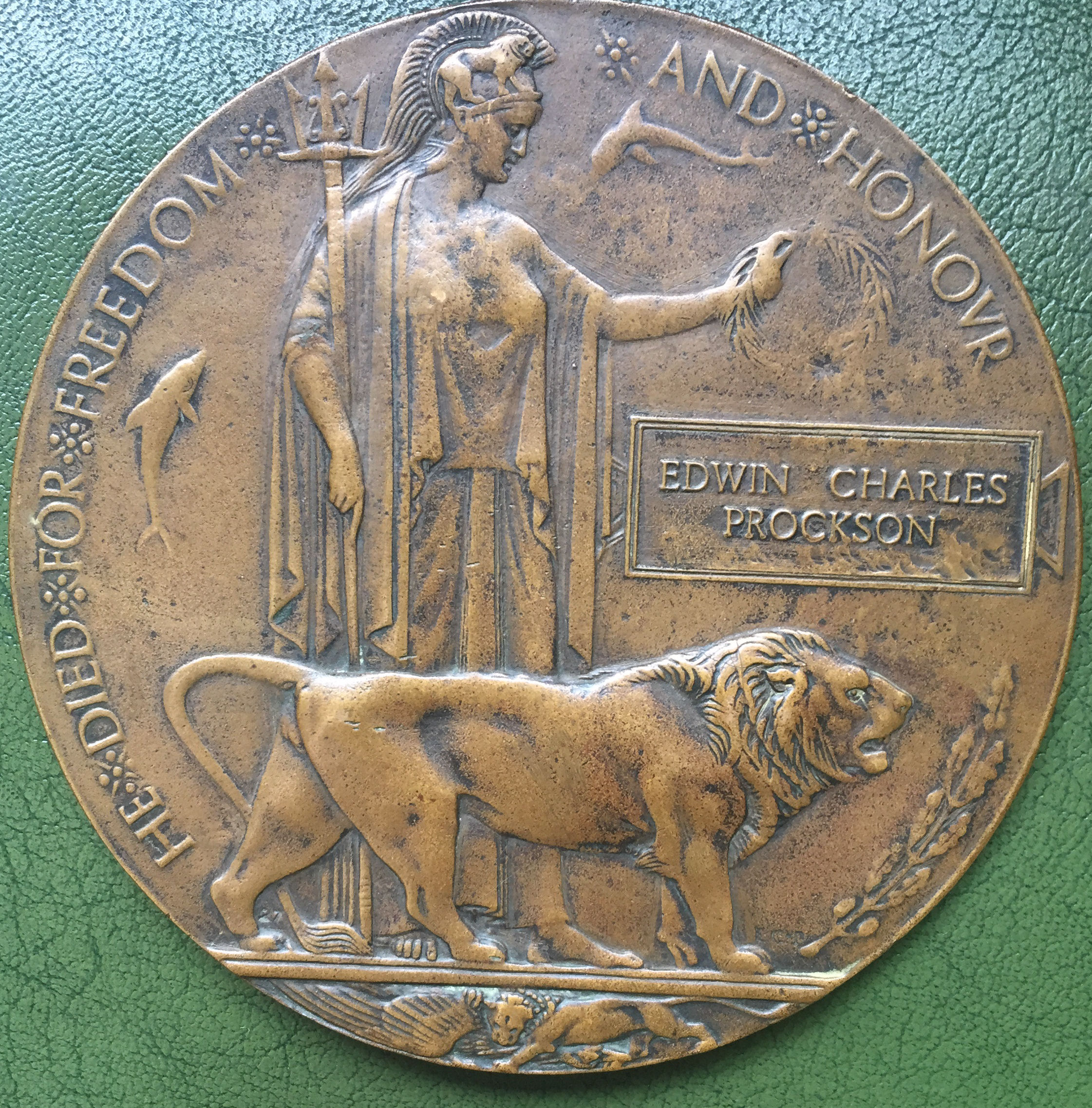 Memorial Plaque– The memorial plaque of Edwin Charles Prockson. Soon to be featured in my book on WWI