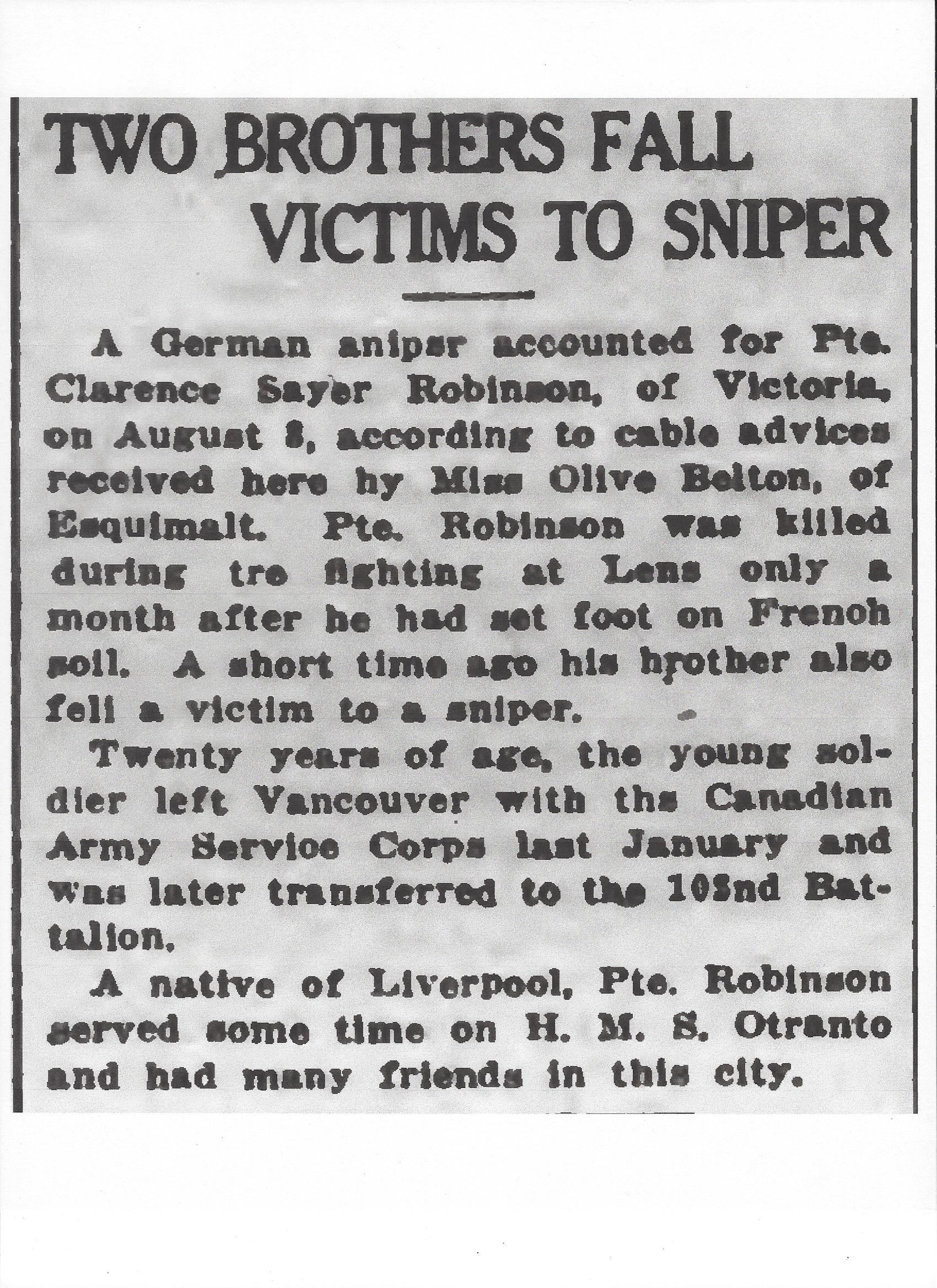 Newspaper Clipping– Newspaper clipping from the Daily Colonist of October 12, 1917. Image taken from web address of http://archive.org/stream/dailycolonist59y263uvic#page/n0/mode/1up