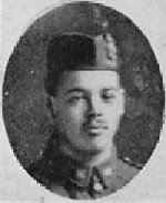 """Photo of Clarence Ross– Photo taken from """"A Short History and Photographic Record of the 73rd Battalion, Canadian Expeditionary Force, Royal Highlanders of Canada"""" Page 37.  'D' Company.  No. 13 Platoon."""