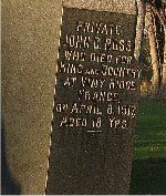 Inscription– Inscription to the memory of John Clarence Ross in St. Andrew's United Church Cemetery Williamstown, Ontario