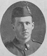 """Photo of Harold Shaver– Photo taken from """"A Short History and Photographic Record of the 73rd Battalion, Canadian Expeditionary Force, Royal Highlanders of Canada"""" Page 37.  D Company.  No. 13 Platoon."""