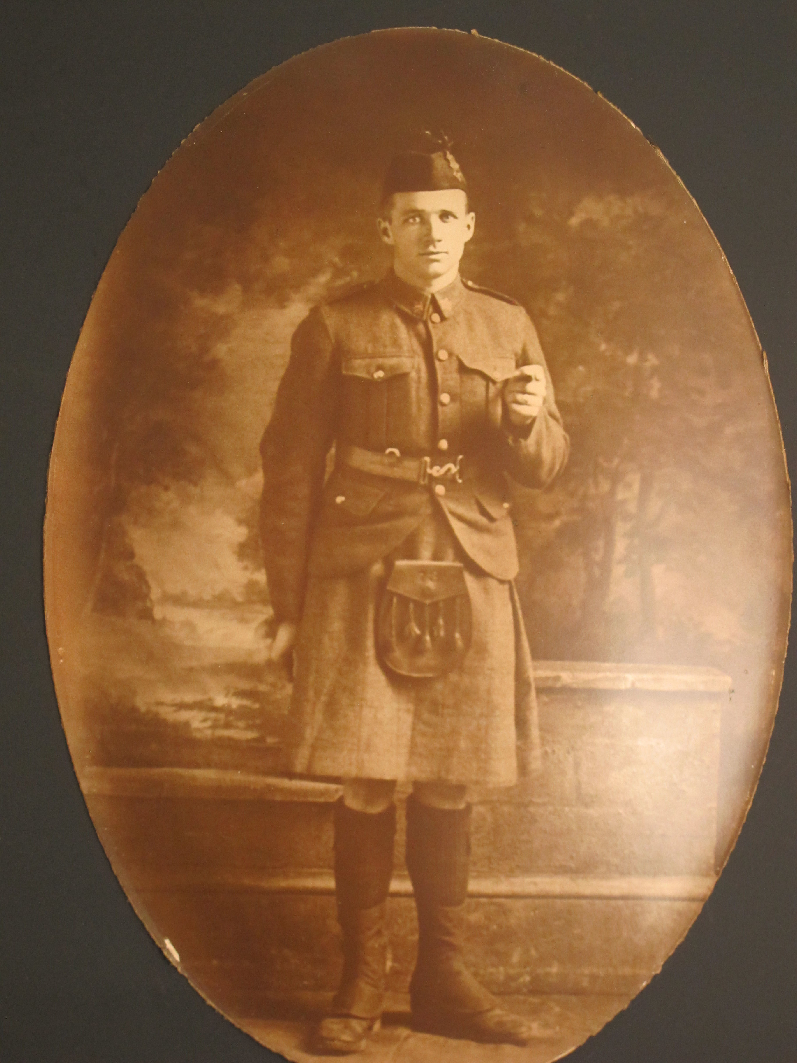 Photo of Harold Shaver– Corporal Harold Shaver, 73rd Royal Highlanders, Canada ( framed photo given to donor's grandfather Rev. Jim Shaver by Corporal Harold Shaver uncle,  Osborne Poapst )
