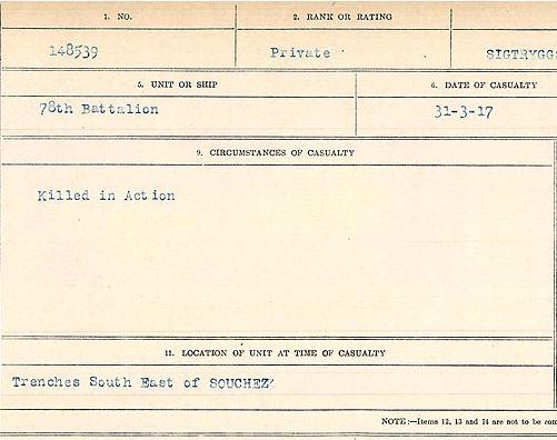Circumstances of death registers– Private Conrad Sigtryggson