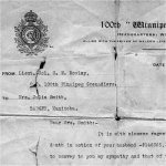 Letter– Amos Smith, Pte. 148365 Winnipeg Grenadiers Died at Vimy Ridge, 10 April 1917.  Canadian Expeditionary Force, 78th Battalion.  Survived by his wife Julia [Daniels] Smith, children Bessy, Harry, Sidney, Doris, Bill and Edna, at their homestead at Badger, Manitoba.
