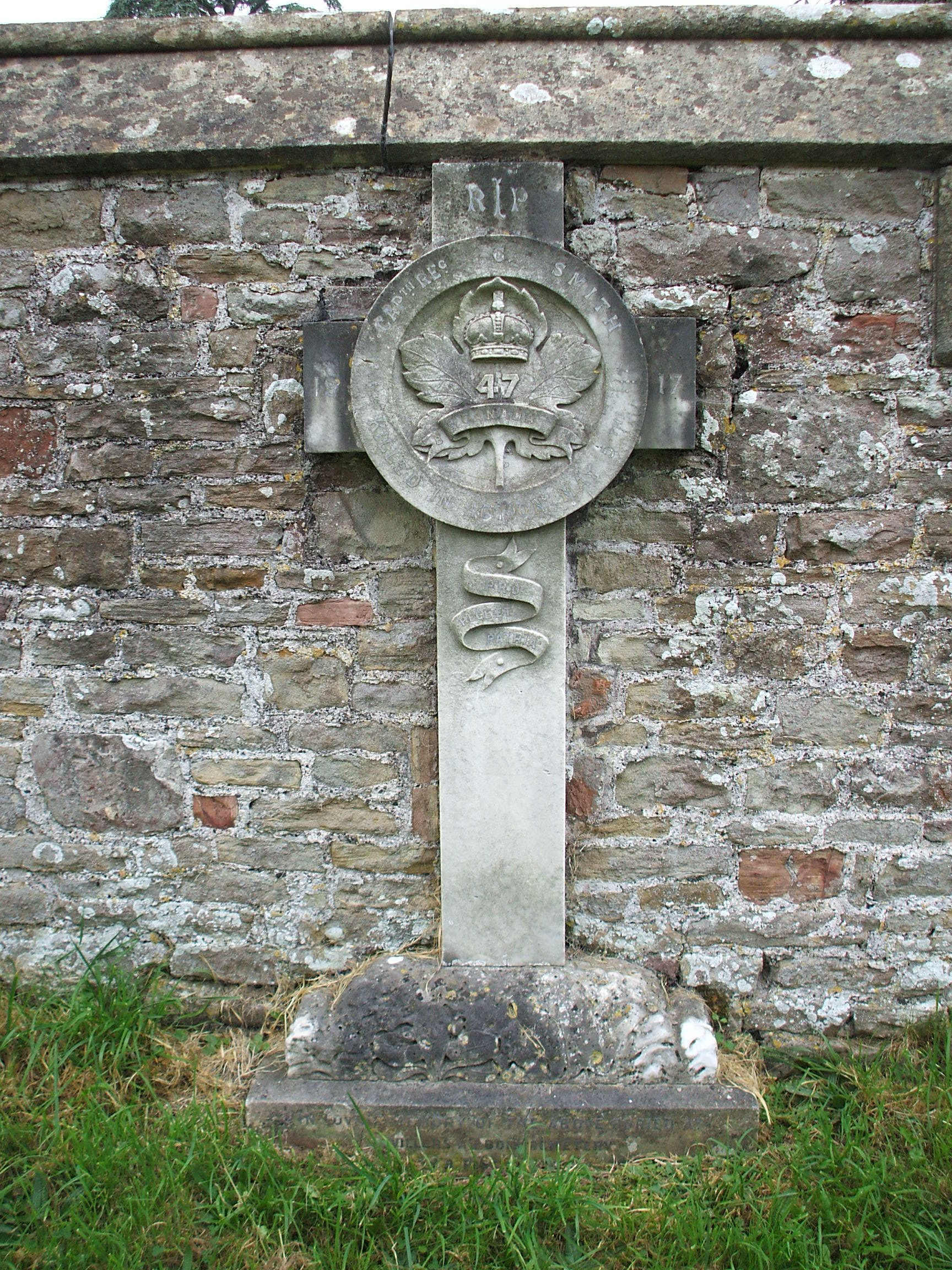 Memorial– Reginald George SMITH. Commemorated on a memorial cross in St Leonard's churchyard, Tortworth, Gloucestershire