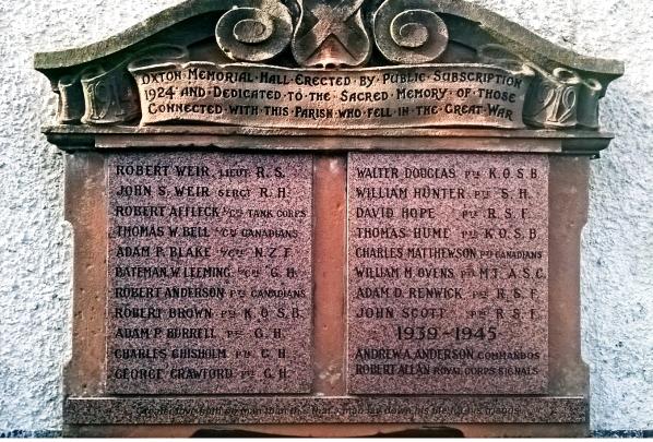 Oxton War Memorial– Photo courtesy of Craig Robertson, Scotland