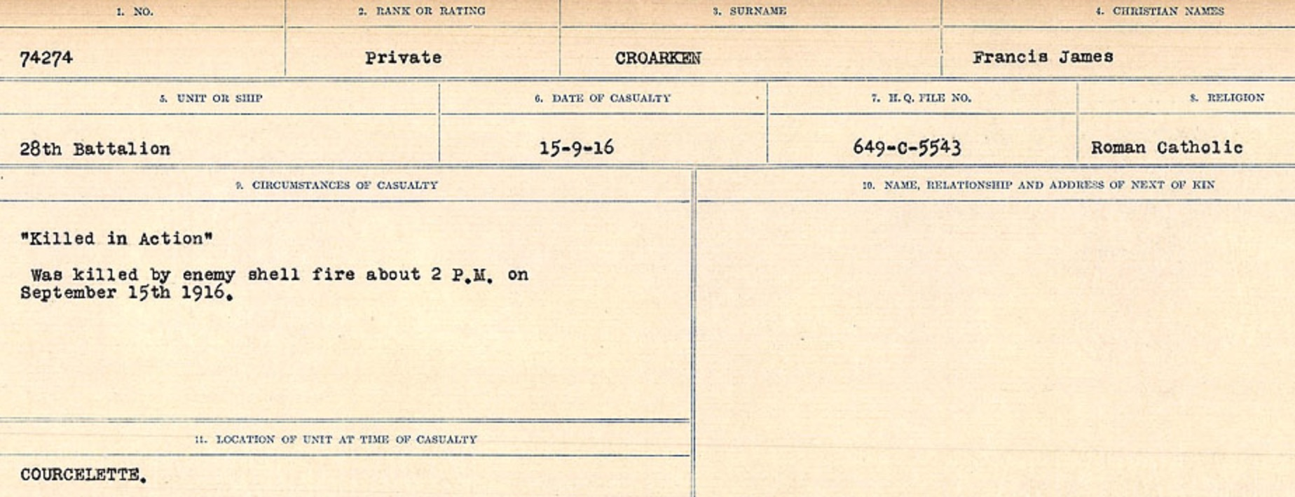 Circumstances of death registers– Source: Library and Archives Canada. CIRCUMSTANCES OF DEATH REGISTERS, FIRST WORLD WAR Surnames: CRABB TO CROSSLAND Microform Sequence 24; Volume Number 31829_B016733. Reference RG150, 1992-93/314, 168. Page 569 of 788.