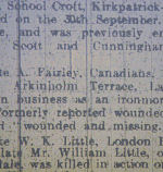 """Newspaper clipping– Notice reporting Pte Fairley """"wounded and missing"""". From the 'Carlisle Journal', Friday, October 27th, 1916, p9."""