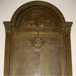 Commemorative Plaque– WWI Roll of Service includes names of all the members of the Victoria-Royce Presbyterian Church who served in the war.  55 men died as a result of their war service.