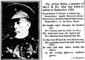Newspaper clipping– Muskoka Herald 19-Oct-1916